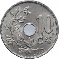 """Бельгия 10 сантимов 1927 г., UNC BELGIQUE, """"Король Альберт I (1910 - 1934)"""""""