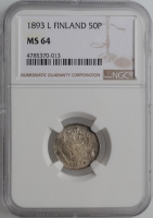 """Финляндия 50 пенни 1893 г. L, NGC MS64, """"Император Александр III (1881 - 1894)"""""""