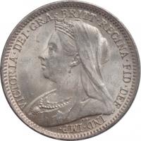 """Великобритания 3 пенса 1901 г., BU, """"Королева Виктория (1838 - 1901)"""""""