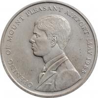 """Фолклендские острова 50 пенсов 1985 г., BU, """"Открытие аэропорта Маунт-Плезант"""""""