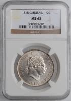 """Великобритания 1/2 кроны 1818 г., NGC MS63, """"Король Георг III (1760 - 1820)"""""""