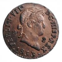"""Испания 2 мараведи 1833 г., UNC, """"Король Фердинанд VII (1813 - 1833)"""""""