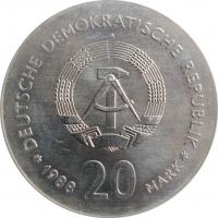 """ГДР 20 марок 1988 г., UNC, """"100 лет со дня смерти Карла Фридриха Цейса"""""""