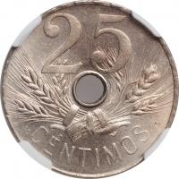 "Испания 25 сентимо 1927 г., NGC MS65, ""Король Альфонсо XIII (1886 - 1931)"""