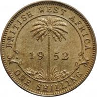 """Британская Западная Африка 1 шиллинг 1952 г., UNC, """"Король Георг VI (1937 - 1952)"""""""