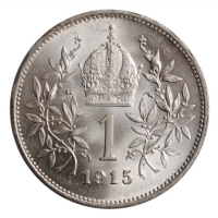 "Австрия 1 крона 1915 г., BU, ""Император Франц Иосиф (1848 - 1916)"""