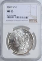 "США 1 доллар 1881 г. S, NGC MS63, ""Доллар Моргана"""