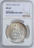 """Перу 1 соль 1875 г. YJ, NGC MS62, """"Республика Перу (1863 - 1917)"""""""