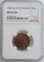 """Дания 1 ригсбанкскиллинг 1842 г. FK FF, NGC MS64 BN, """"Король Кристиан VIII (1839 - 1848)"""""""