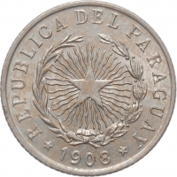 """Парагвай 20 сентаво 1908 г., BU, """"Республика Парагвай (1870 - 1943)"""""""