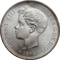 """Испания 5 песет 1898 г., BU, """"Король Альфонсо XIII (1886 - 1931)"""""""