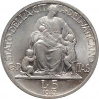 "Ватикан 5 лир 1929 г., NGC MS65, ""Папа Пий XI (1929 - 1938)"""