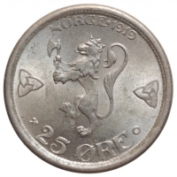 """Норвегия 25 эре 1919 г., BU, """"Король Хокон VII (1906 - 1957)"""""""