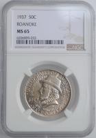"""США 50 центов 1937 г., NGC MS65, """"350 лет колонии Роанок"""""""