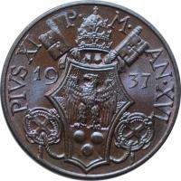 """Ватикан 10 чентезимо 1937 г., BU, """"Папа Пий XI (1929 - 1938)"""""""