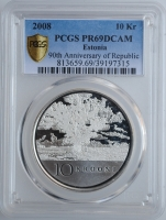 """Эстония 10 крон 2008 г., PCGS PR69, """"90 лет Эстонской Республике"""""""