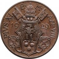"Ватикан 10 чентезимо 1929 г., UNC, ""Папа Пий XI (1929 - 1938)"""