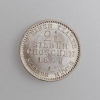 """Пруссия 2 1/2 серебряных гроша 1868 г. A, UNC, """"Король Вильгельм I (1861 - 1888)"""""""