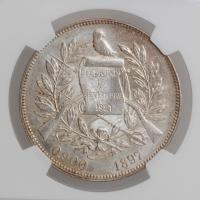"""Гватемала 1 песо 1897 г., NGC MS62, """"Песо (1859 - 1925)"""""""