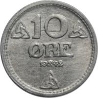 """Норвегия 10 эре 1942 г., BU, """"Король Хокон VII (1906 - 1957)"""""""