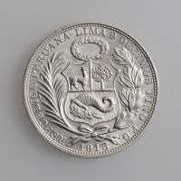 """Перу 1 соль 1916 г. FG, UNC, """"Республика Перу (1863 - 1917)"""""""