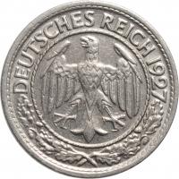 """Германия 50 рейхспфеннигов 1927 г. E, UNC, """"Веймарская Республика (Рейхсмарка) (1924 - 1938)"""""""