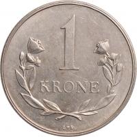 """Гренландия 1 крона 1960 г., UNC, """"Датская территория (1953 - 1979)"""""""