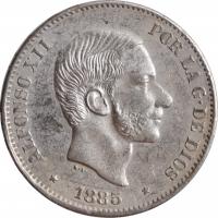 """Филиппины 50 сентимо 1885 г., AU, """"Испанская колония (1861 - 1897)"""""""