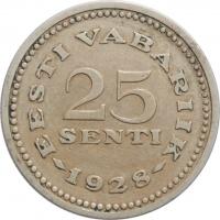 """Эстония 25 сентов 1928 г., AU, """"1ая Республика (Крона) (1928 - 1940)"""""""