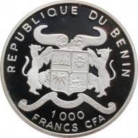 """Бенин 1000 франков 2002 г., PROOF, """"История авиации - Lockheed Orion"""""""