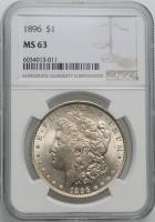 "США 1 доллар 1896 г., NGC MS63, ""Доллар Моргана"""