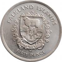 """Фолклендские острова 50 пенсов 1977 г., BU, """"25 лет правления Королевы Елизаветы II"""""""