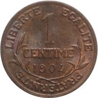 """Франция 1 сантим 1904 г., UNC, """"Третья Республика (1870 - 1941)"""""""