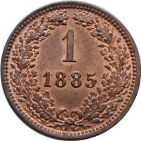 """Австрия 1 крейцер 1885 г., BU, """"Император Франц Иосиф (1848 - 1916)"""""""