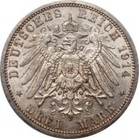 """Пруссия 3 марки 1914 г., AU, """"Император Вильгельм II (1888 - 1918)"""""""