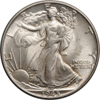 "США 50 центов 1945 г., UNC, ""Walking Liberty Half Dollar"""