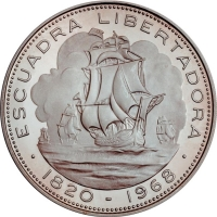 """Чили 10 песо 1968 г. So, PROOF, """"Прибытие освободительного флота"""""""