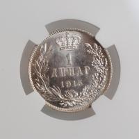 "Сербия 1 динар 1915 г., NGC MS61, ""Король Пётр I (1903 - 1918)"" KM# 25.3"