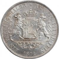 "Бавария 1 талер 1871., UNC, ""Король Людвиг II (1864 - 1886)"" KM# 888 RARE"