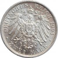 """Мекленбург-Шверин 2 марки 1904 г., UNC, """"Свадьба Герцога Фридриха Франца IV"""""""