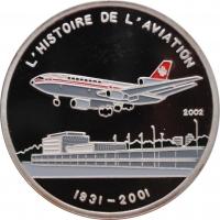 """Чад 1000 франков 2002 г., PROOF, """"Боинг 747"""""""