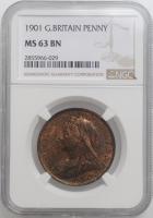 "Великобритания 1 пенни 1901 г., NGC MS63 BN, ""Королева Виктория (1838 - 1901)"""