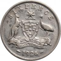 """Австралия 6 пенсов 1926 г., VF, """"Король Георг V (1911 - 1936)"""""""