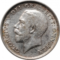 """Великобритания 6 пенсов 1924 г., XF, """"Король Георг V (1910 - 1936)"""""""