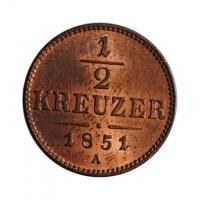 """Австрия 1/2 крейцера 1851 г. A, UNC, """"Австрийская Империя (1806 - 1857)"""""""