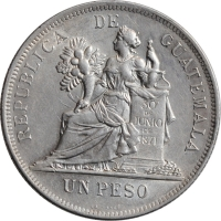 """Гватемала 1 песо 1896 г., AU, """"Песо (1859 - 1925)"""""""
