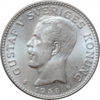 """Швеция 2 кроны 1936 г. G, BU, """"Король Густав V (1908 - 1950)"""""""