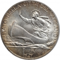 """Ватикан 5 лир 1941 г., BU, """"Папа Пий XII (1939 - 1958)"""""""