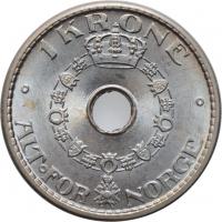 """Норвегия 1 крона 1947 г., BU, """"Король Хокон VII (1906 - 1957)"""""""