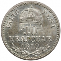 """Венгрия 10 крейцеров 1870 г. KB, UNC, """"Император Франц Иосиф (1848 - 1916)"""""""